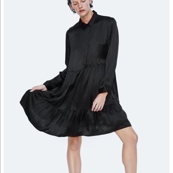 f904d521 Zara Dresses | Black Ruffles Dress | Poshmark